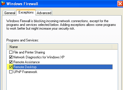 firewall exception