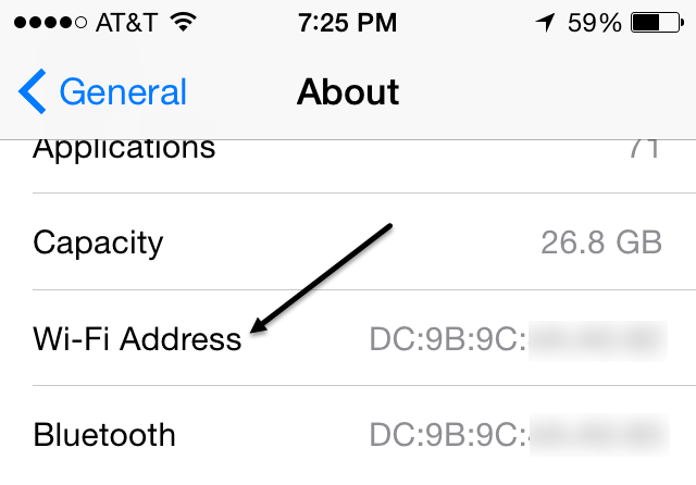 iphone mac address