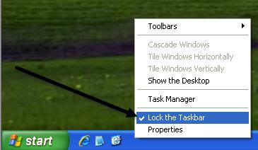 lock the taskbar