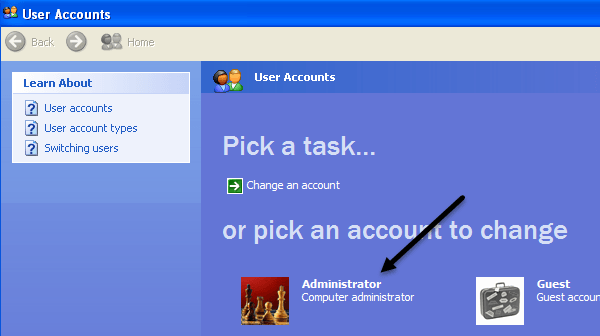 user accounts xp