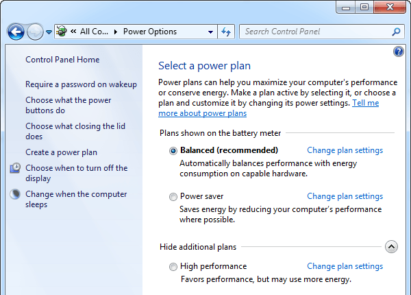 Configure Power Options in Windows 7/8/8 1