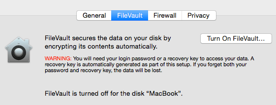 FileVault settings