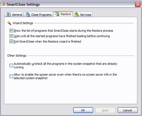 restore settings