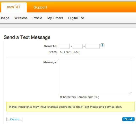 Send text message through email bell