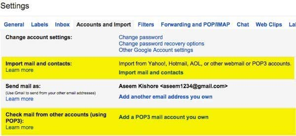 how to add an email account to check from gmail