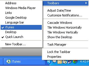 how to get itunes on taskbar