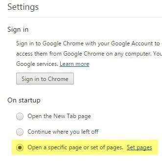 chrome home pages