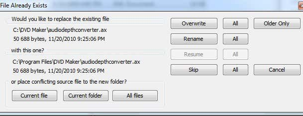 file already exists