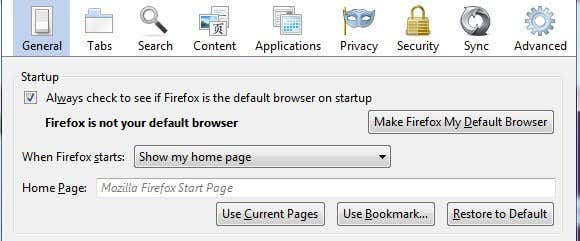 firefox home pages