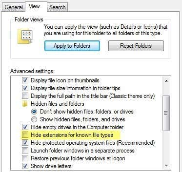 folder options view