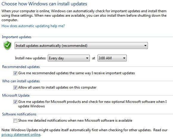 control panel windows update