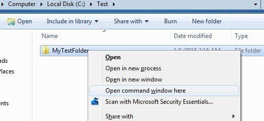 open command window
