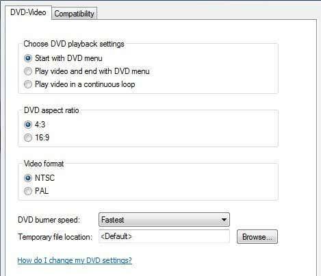 dvd maker options
