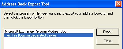 outlook express exportación de la libreta de direcciones