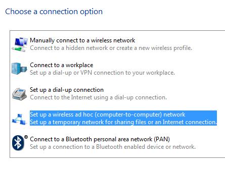 setup ad hoc connection