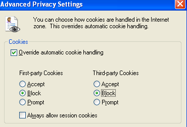 turn off cookies