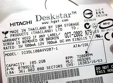 hgst hard drive serial number