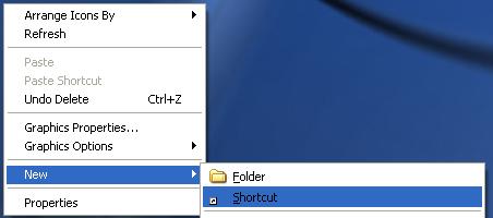 new shortcut desktop