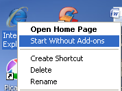 ie start without add ons