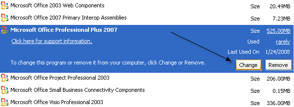 office professional plus 2007 components