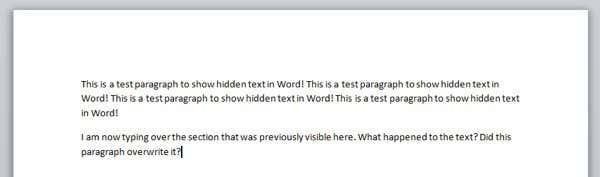 overwrite hidden text
