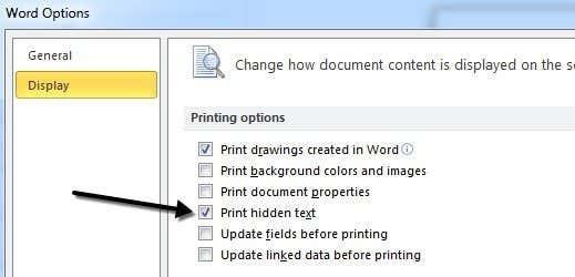 print hidden text
