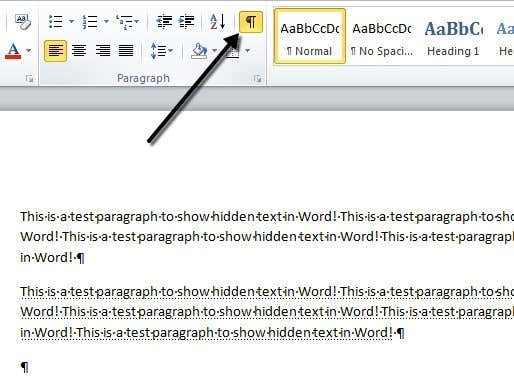 show hide paragraph marks