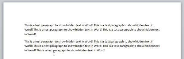 Hide Text and Show Hidden Text in Word