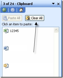 clear all office clipboard