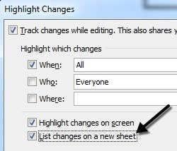 list changes new sheet
