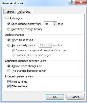 share workbook settings
