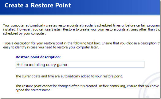 create restore point windows