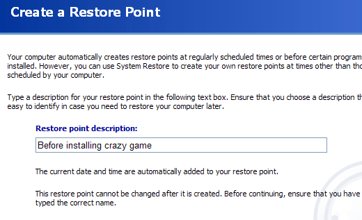 how to manually delete restore points xp