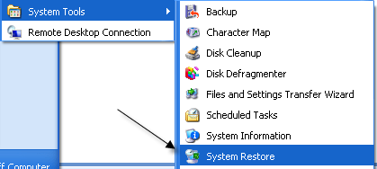 How to Create a System Restore Point Manually in XP Character Map Xp on