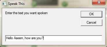 speak dialog box