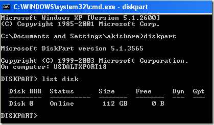diskpart set active partition