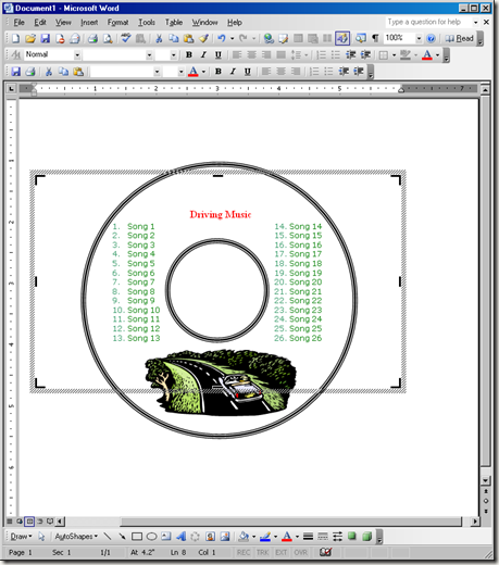 ms word cd label template