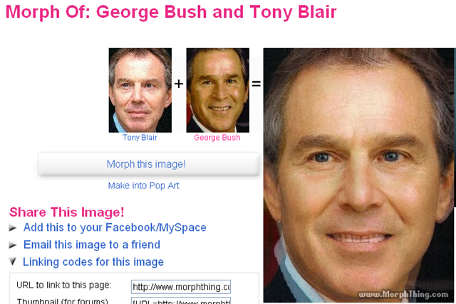 Ever wonder what a morph of George Bush and Tony Blair would look like?