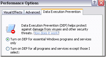disable data execution prevention