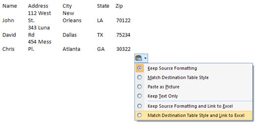 insert spreadsheet into word