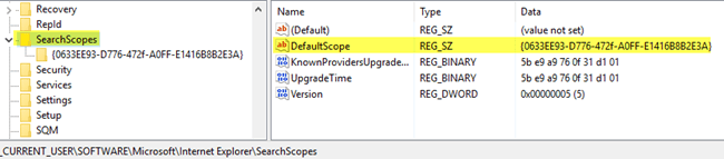 default search scope