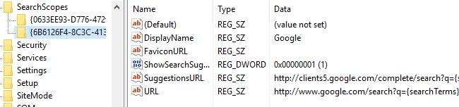 final registry settings