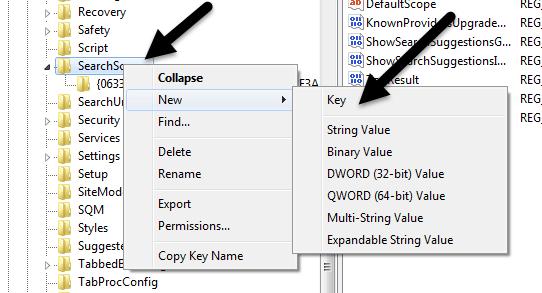 new key registry