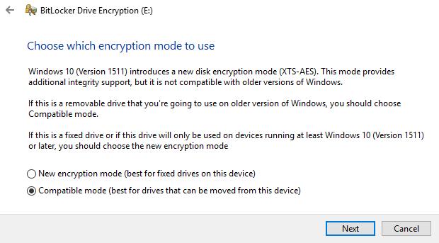 encryption mode