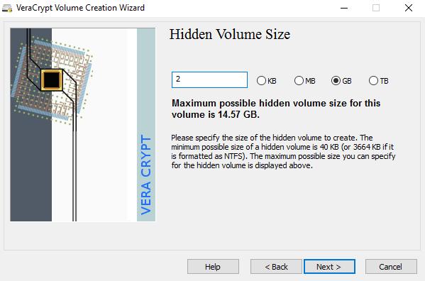 hidden volume size