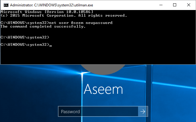 changing windows 7 password in command prompt