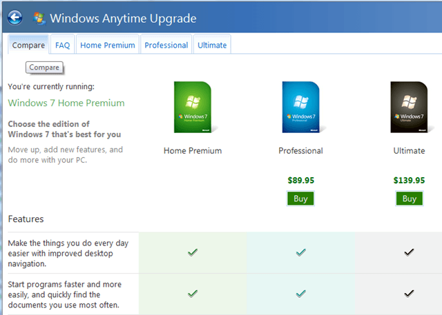 I bought windows 7anytime upgrade but can ty dind any for Window brand comparison