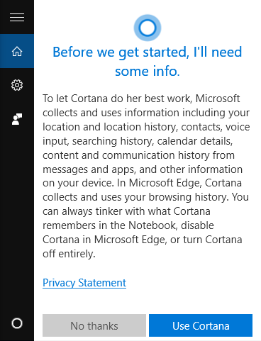 cortana privacy