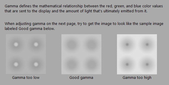 gamma settings