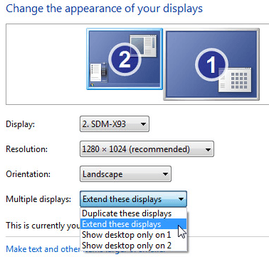 setup multiple monitors windows 7